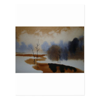 Peaceful Watercolor Winter Snow Scene Hand Painted Post Cards