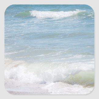 Peaceful Waves Blue Sea Beach Photography Square Stickers