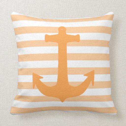 Peach Anchor and Stripes nautical Theme Pillow