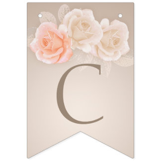 Peach and Cream Roses Bunting Banner