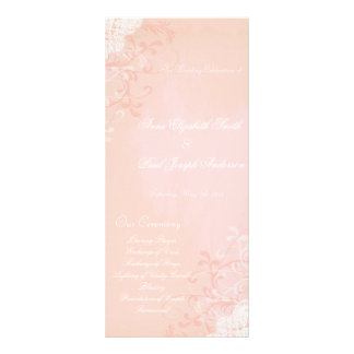 Peach and lace wedding program personalized rack card