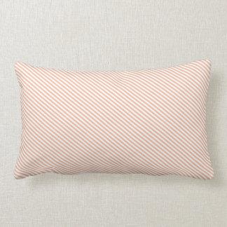 Peach and White Diagonal Stripes Lumbar Pillow
