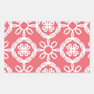 Peach and White Pattern Rectangular Sticker