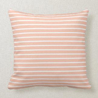 Peach and White Stripes Throw Pillow