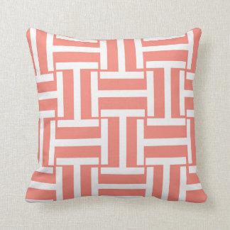 Peach and White T Weave Cushion