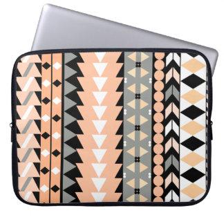 Peach Aztec Black Laptop Computer Sleeves