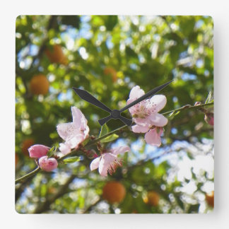 Peach Blossoms and Oranges Wall Clock