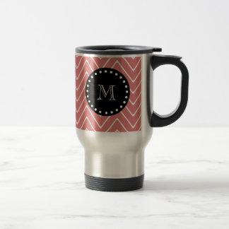 Peach Chevron Pattern | Black Monogram Mug