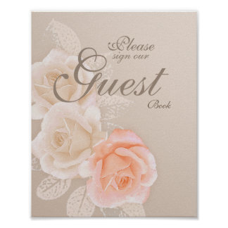 Peach &  Cream Roses Guest Book Sign 8x10 Poster