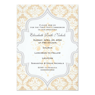 Peach Cross white damask burlap First Communion Card