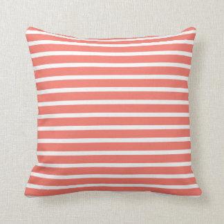 Peach Echo & White Fine Striped Cushion
