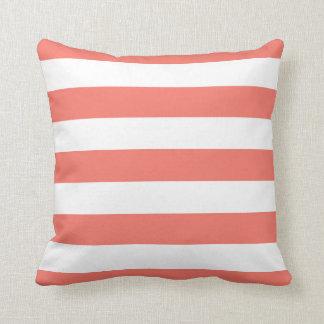 Peach Echo & White Striped Throw Pillow