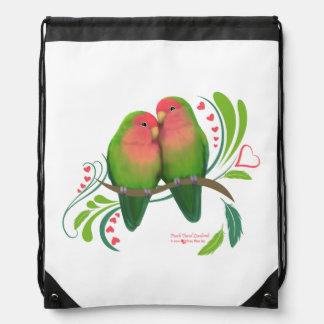 Peach Faced Love Birds Drawstring Bag