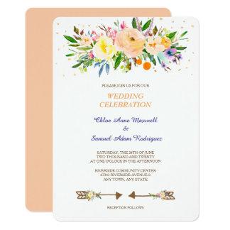 Peach Floral Bouquet Wedding Invitation