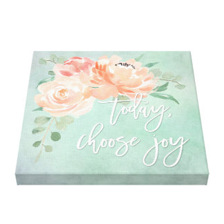 Peach Floral Inspirational Quote Canvas Print