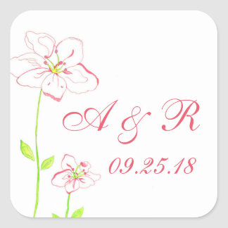 Peach Floral Personalized Wedding Stickers