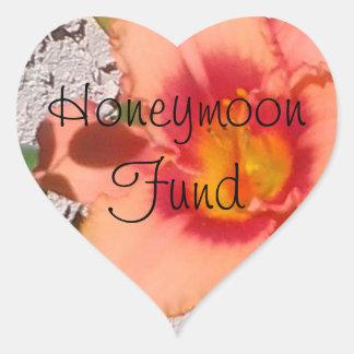 Peach Flower Honeymoon Fund Heart Sticker