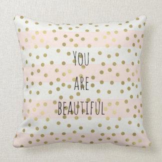 Peach Gold Stripes Confetti You are Beautiful Cushion