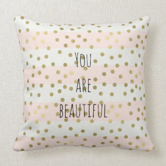 Peach Gold Stripes Confetti You are Beautiful Throw Pillow