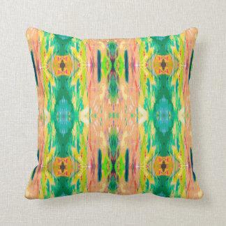 Peach green tribal Aztec girly mandala pattern Cushion