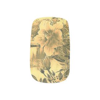 Peach Hibiscus Bloom Minx Nail Art