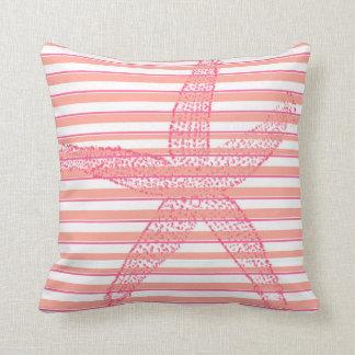 Peach Hot Pink White Stripe Starfish Throw Pillow