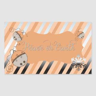 Peach Jingle Bells Stripe Rectangle Sticker