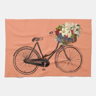 peach Kitchen towel bicycle flower bike