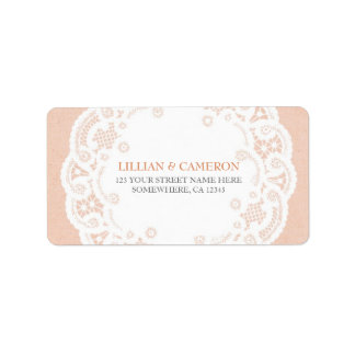 Peach Lace Doily Address Labels