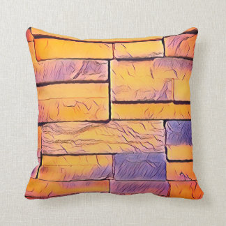 Peach Lavender Funky Layers of Bricks Cushion