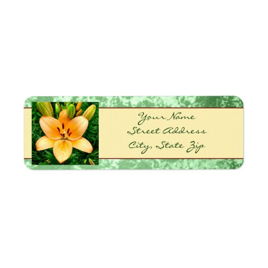Peach Lily Photo Return Address Label