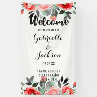 Peach & Mint Floral Watercolor Wedding Welcome Banner
