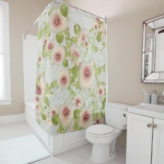 Peach Peony Blossom Floral Art Modern Scrollwork Shower Curtain