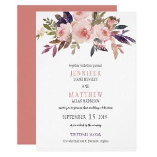 Peach Pink Lavender Purple Flowers Wedding | Card