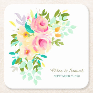 Peach Pink Roses Wedding Square Paper Coaster