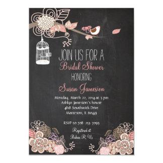 Peach Pink Tan Bird Cage Bridal Shower Invitation