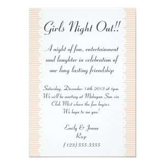 Peach Pinstripes Girls Night Out Invitation