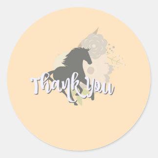 peach pony thank you classic round sticker