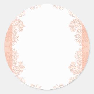 Peach romantic elegant invitation template classic round sticker