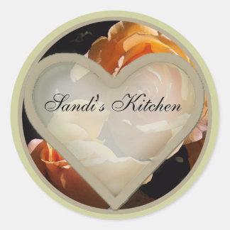 peach roses 1 round sticker