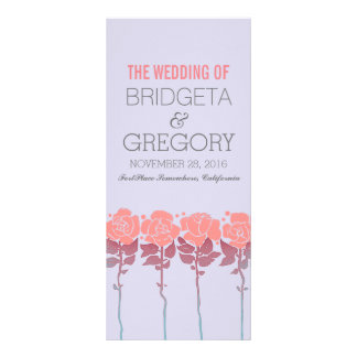 Peach roses garden - outdoor wedding programs rack card