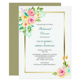 Peach Roses Wedding Rehearsal Dinner Invitation