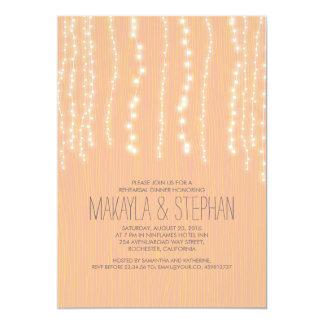 Peach Rustic String of Lights Rehearsal Dinner Card