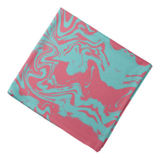 Peach turquoise abstract art bandanas