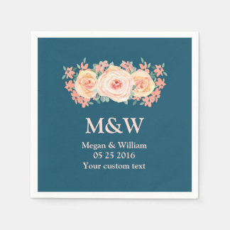 Peach Watercolor Floral Navy Blue Wedding Napkin Paper Serviettes