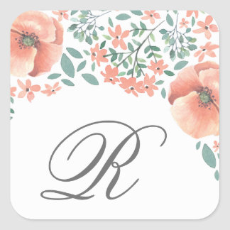 Peach watercolor flowers monogram sticker