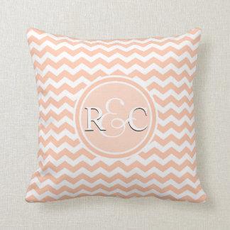 Peach White Chevron Customized Initials Monogram Throw Pillow