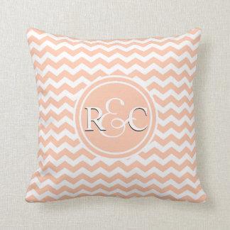 Peach White Chevron Personalized Initials Monogram Cushion