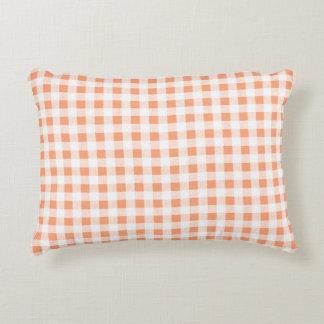 Peach White Gingham Pattern Decorative Cushion