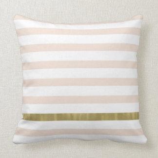 Peach White Gold Stripes Throw Pillow
